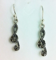 Sterling Silver small treble clef earrings